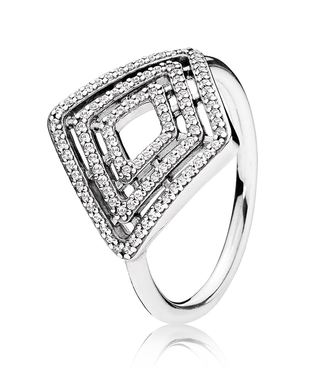 Pandora 196210cz Ladies Ring Geometrical Lines Throughout 2018 Sparkling Twisted Lines Rings (View 4 of 25)