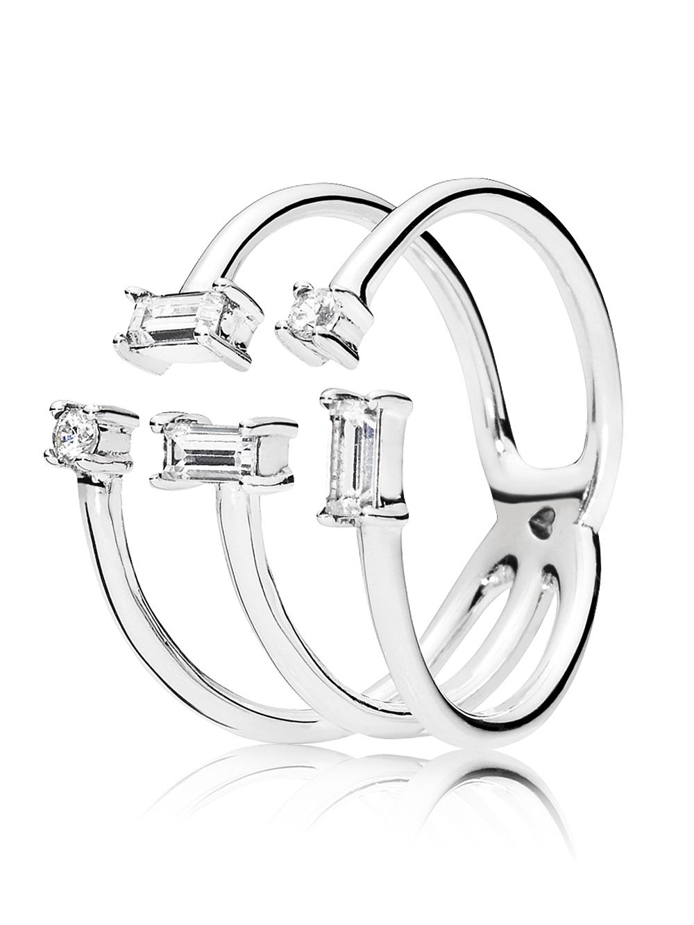 Pandora 197527Cz Ladies' Ring Shards Of Sparkle Regarding Newest Polished & Sparkling Hearts Open Rings (View 16 of 25)
