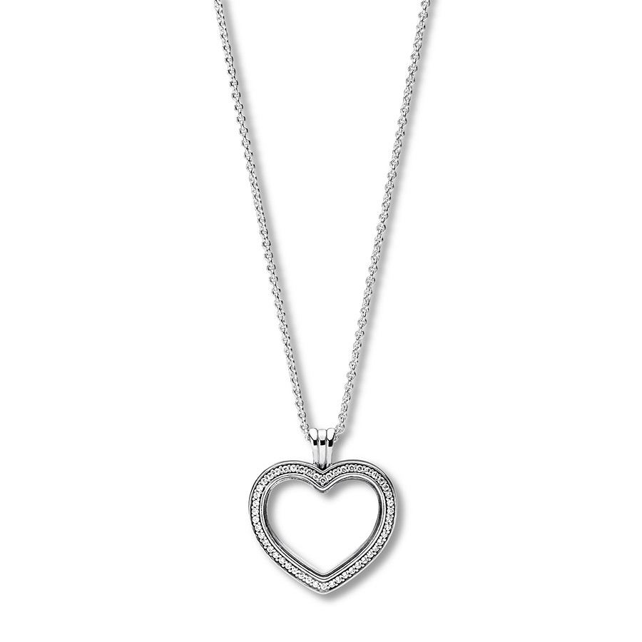 "Pandora 23.6"" Floating Locket Sparkling Heart Sterling Silver With Latest Pandora Lockets Sparkling Necklaces (Gallery 4 of 25)"