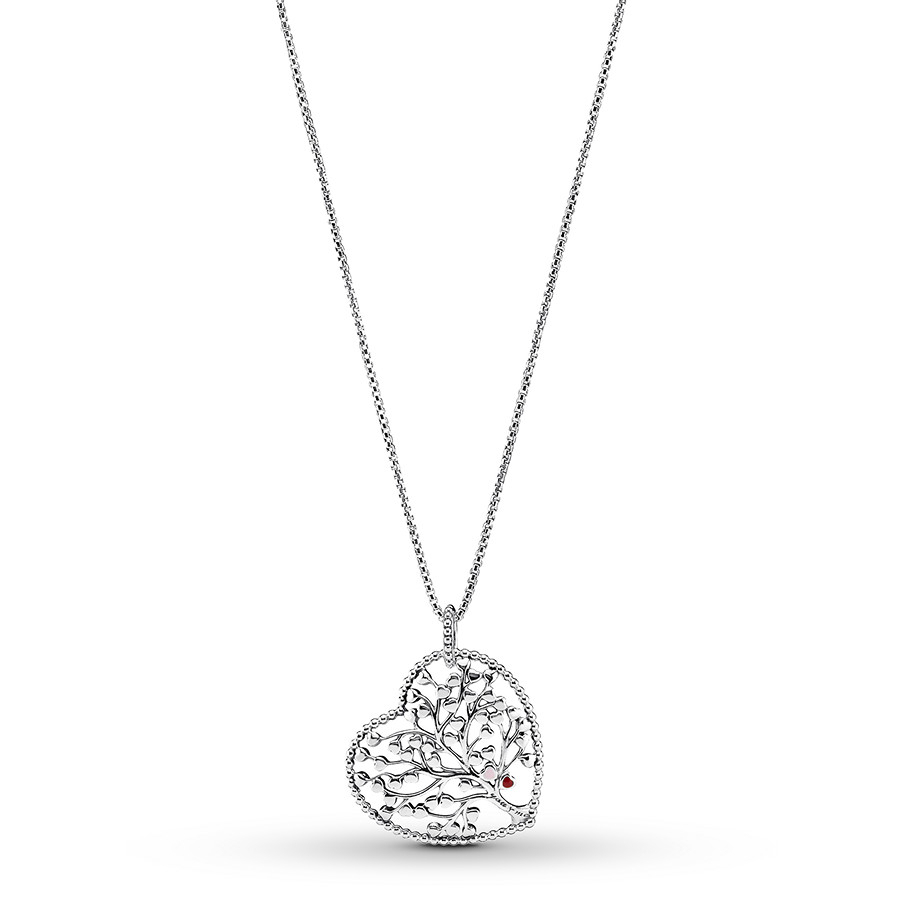 "Pandora 29.5"" Necklace Tree Of Love Sterling Silver Within Most Current Pandora Moments Large O Pendant Necklaces (Gallery 10 of 25)"