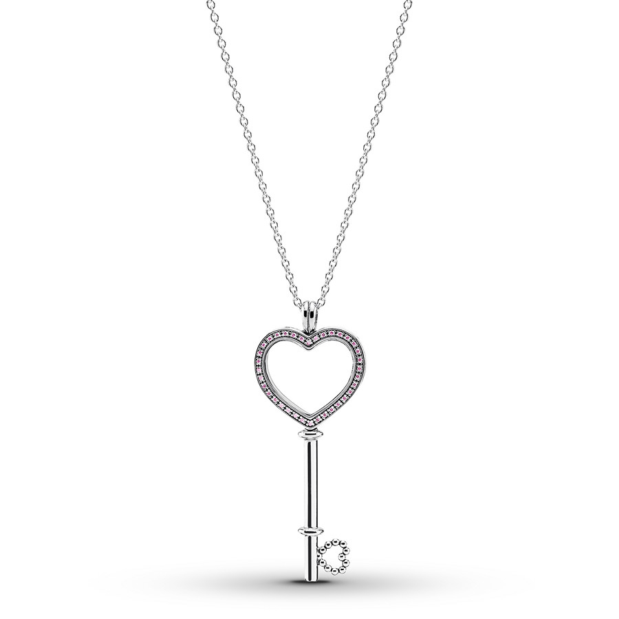 "Pandora 31.5"" Necklace Floating Locket Key Sterling Silver Intended For Most Recent Pandora Lockets Logo Necklaces (Gallery 5 of 25)"