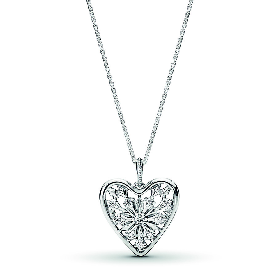 "Pandora 31.5"" Necklace Heart Of Winter Sterling Silver Inside Most Up To Date Pandora Moments Small O Pendant Necklaces (Gallery 18 of 25)"