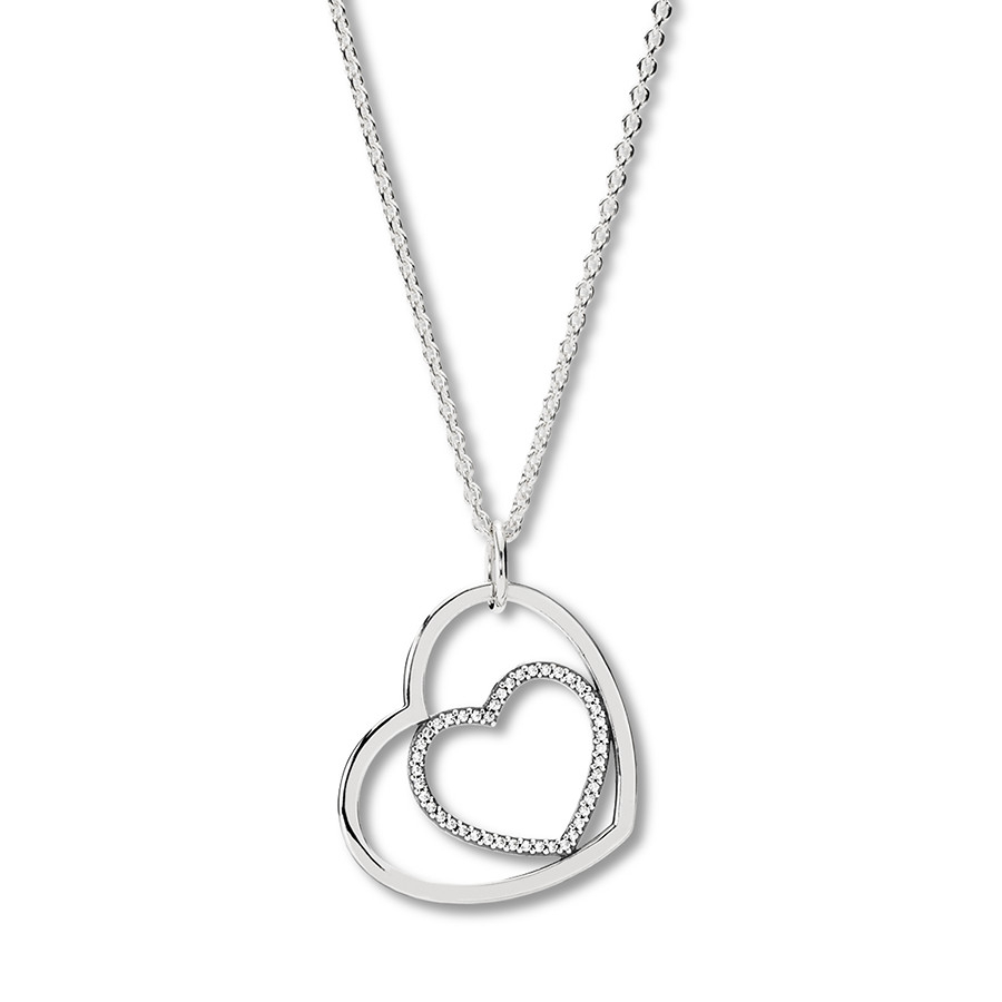 """Pandora 35.4"""" Necklace Heart To Heart Sterling Silver – 802139307 Regarding Most Recent Pandora Moments Large O Pendant Necklaces (Gallery 3 of 25)"""