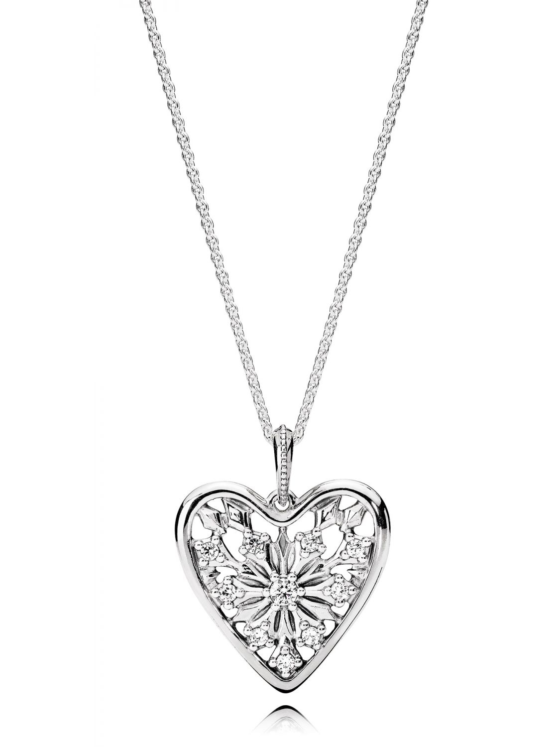 Pandora 396369cz 80 Ladies Necklace Heart Of Winter Intended For Current Shimmering Knot Locket Element Necklaces (View 6 of 25)