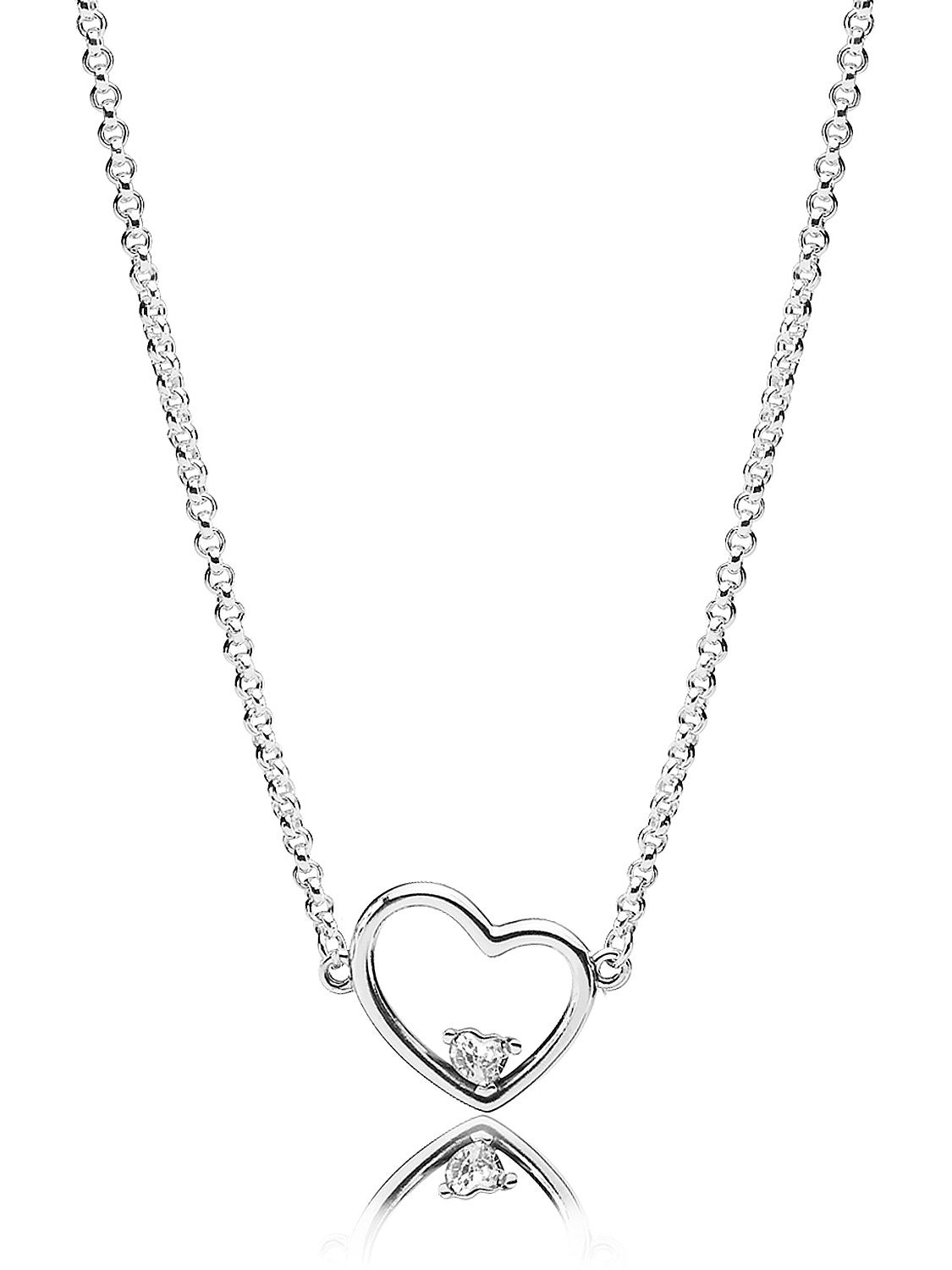 Pandora 397797Cz 45 Necklace Asymmetric Heart Of Love Throughout Most Current Hearts Of Pandora Necklaces (View 12 of 25)