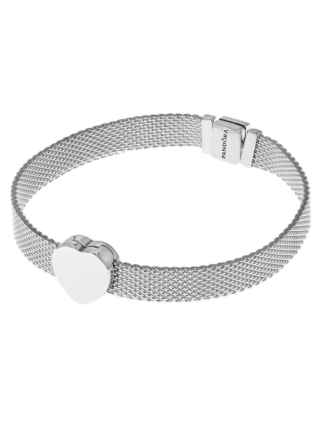 Pandora 75333 Reflexions Silver Women's Bracelet With Heart Clip Regarding Current Pandora Reflexions Mesh Choker Necklaces (View 12 of 25)