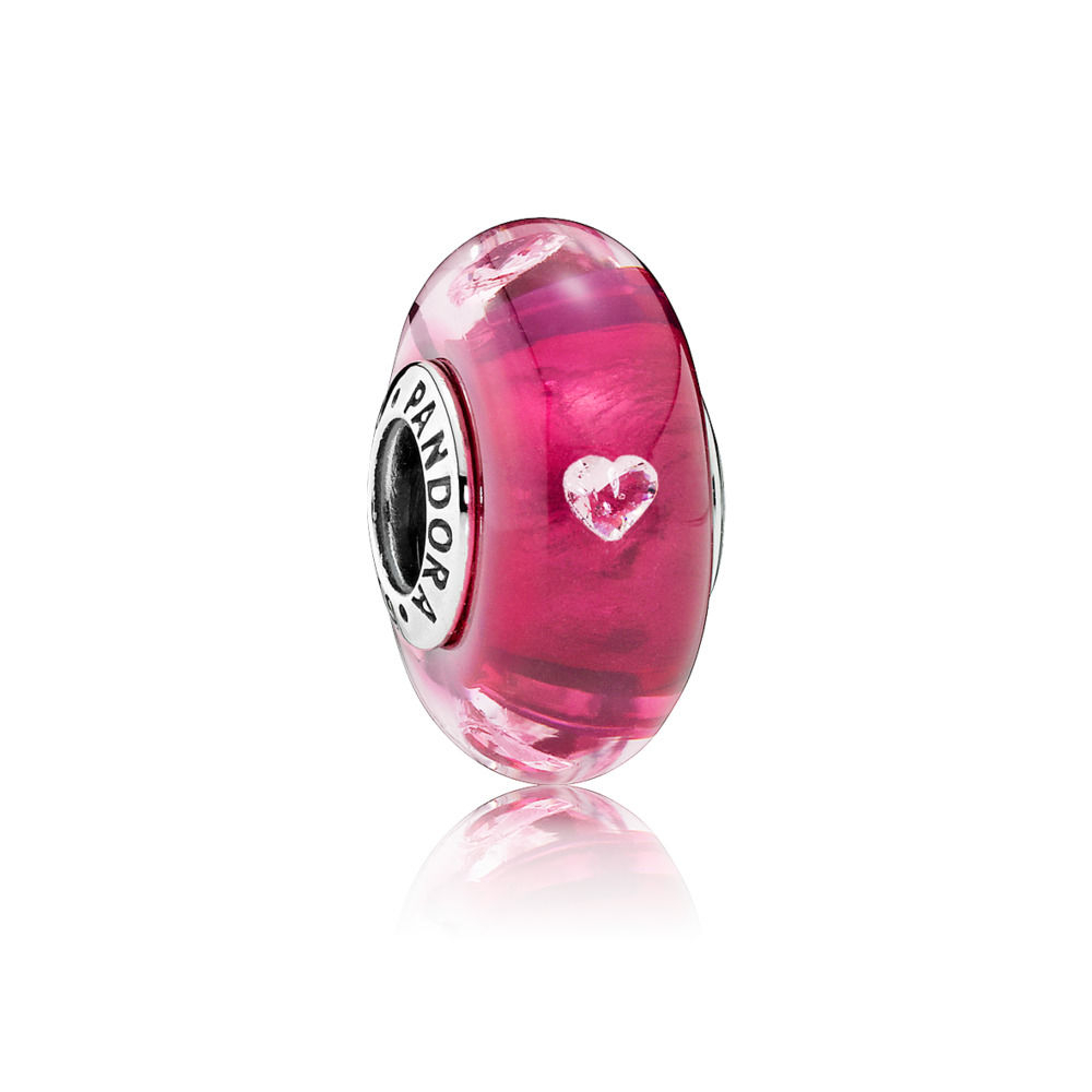 Pandora Abstract Silver With Cerise Transparent Murano Glass Pink For Latest Pink Murano Glass Leaf Rings (View 11 of 25)