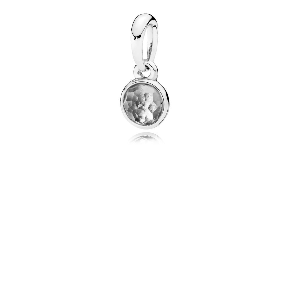 Pandora April Droplet Pendant, Rock Crystal Sterling Silver, Grey Inside 2020 Rock Crystal April Droplet Pendant Necklaces (Gallery 1 of 25)