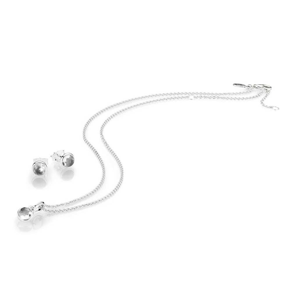 Pandora April Droplet Rock Crystal Birthstone Jewellery Set Jsp0553 With Most Recently Released Rock Crystal April Droplet Pendant Necklaces (View 20 of 25)