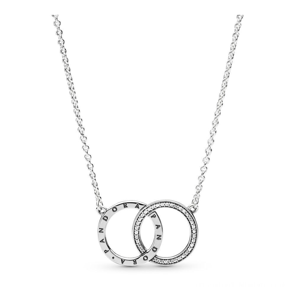 Pandora Circles Necklace Sterling Silver, Cubic Zirconia Regarding Best And Newest Disney, Sparkling Minnie Icon Petite Locket Charm Necklaces (View 16 of 25)