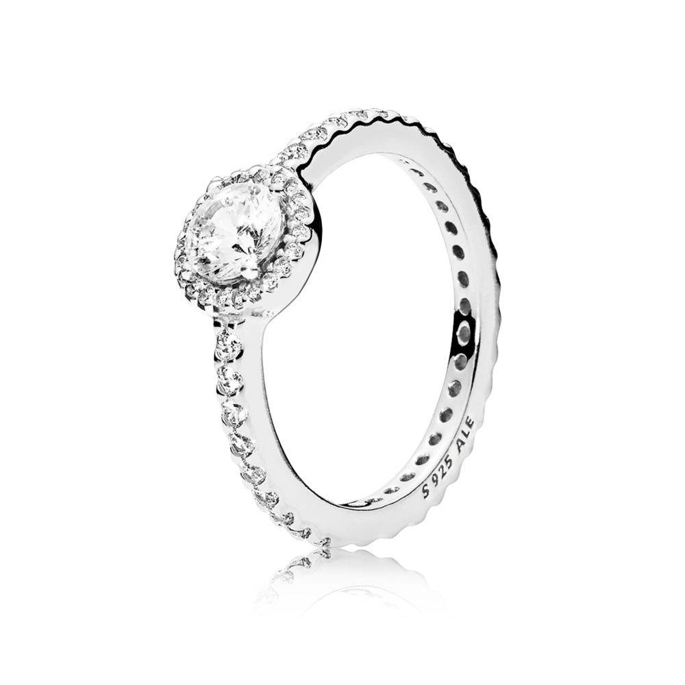 Pandora Classic Sparkle Halo Ring – Sterling Silver / Clear – Sz (View 13 of 25)