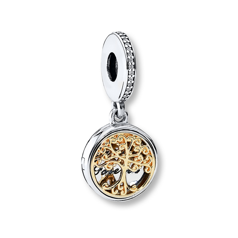 Pandora Dangle Charm Family Roots Sterling Silver/14K Gold Regarding 2017 Dangling Family Tree Rings (View 14 of 25)