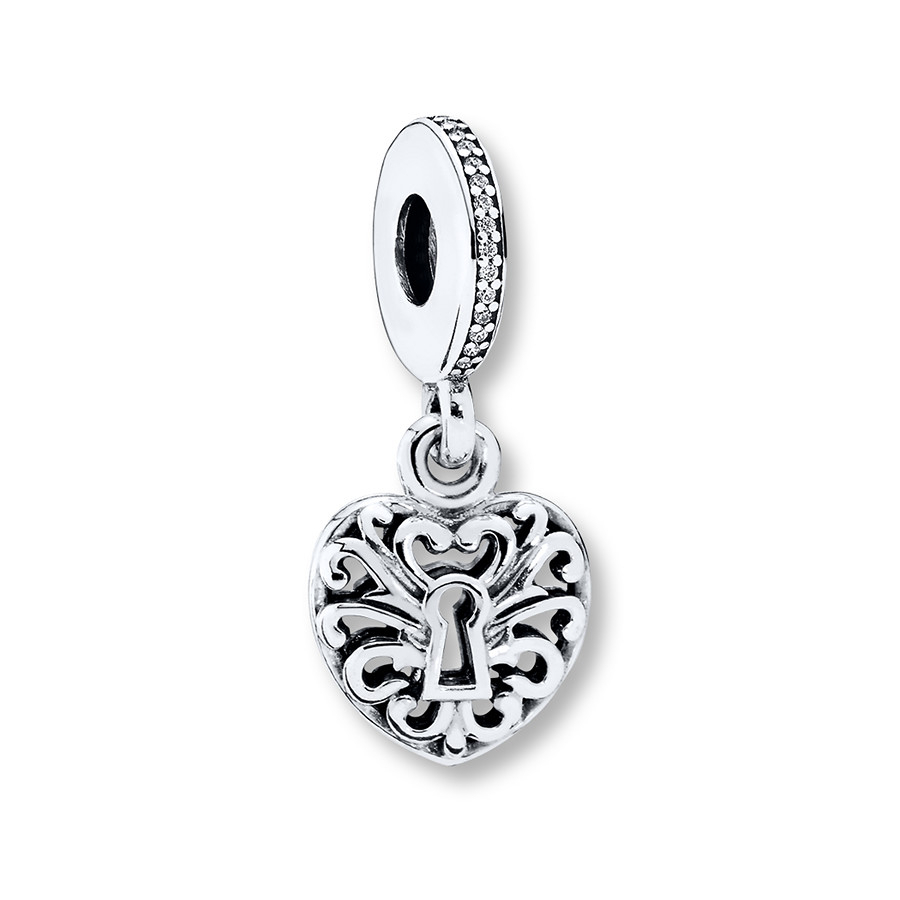 Pandora Dangle Charm Intricate Heart Lock Sterling Silver With Most Recent Heart Shaped Padlock Rings (View 4 of 25)