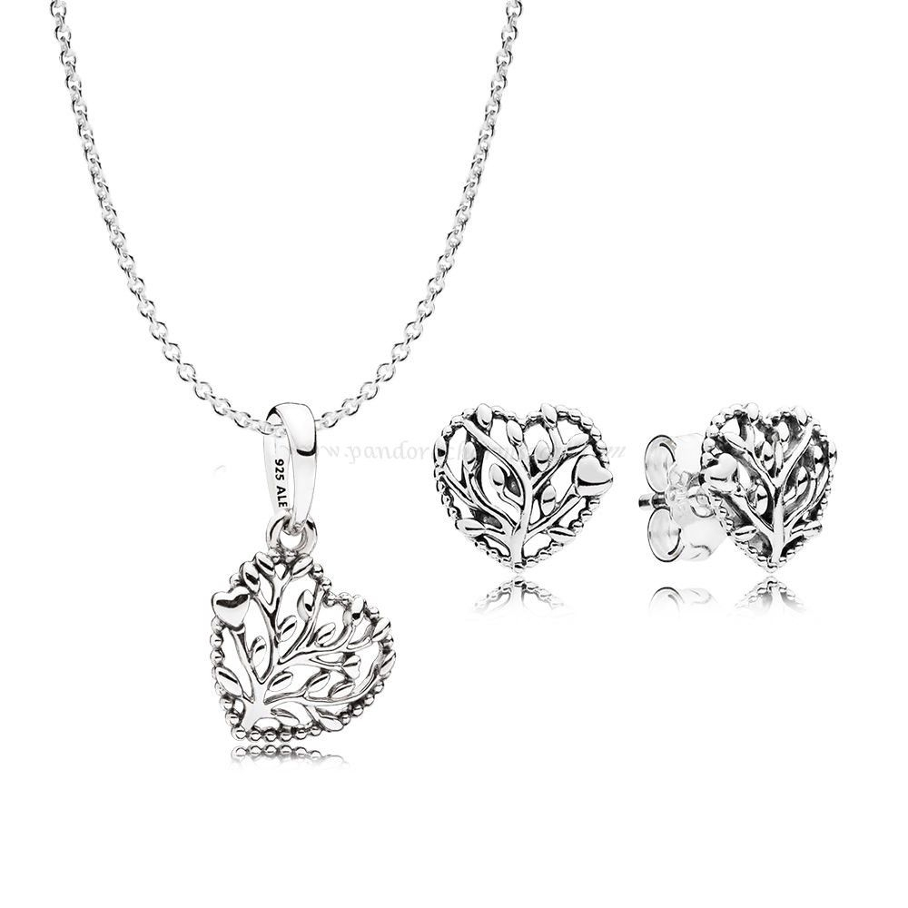 Pandora Dealers Flourishing Hearts Necklace And Earring Gift Set Regarding Recent Interlocked Hearts Collier Necklaces (View 16 of 25)