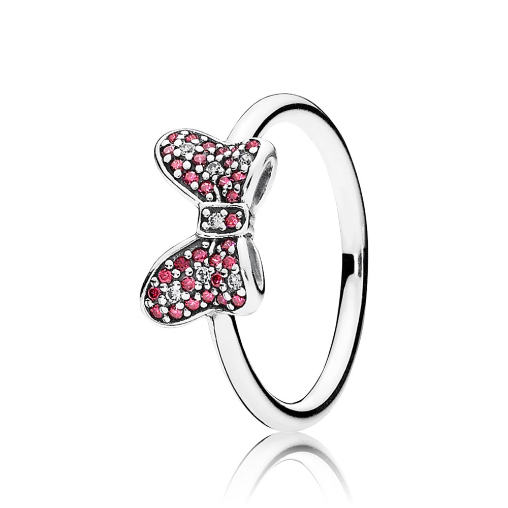 Pandora Disney, Minnie Sparkling Bow Ring * Retired * Throughout Recent Disney Minnie Silhouette Rings (Gallery 7 of 25)