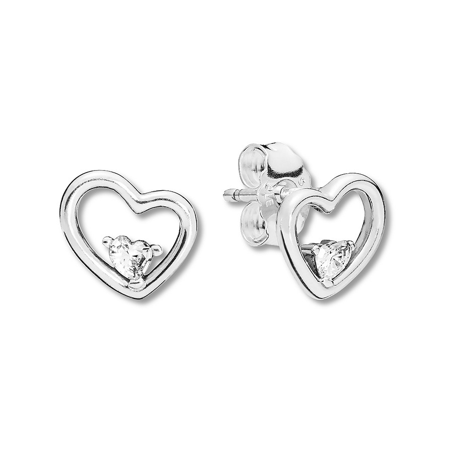 Pandora Earrings Asymmetric Hearts Of Love Sterling Silver Throughout 2020 Asymmetrical Heart Necklaces (View 21 of 25)