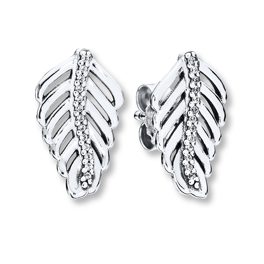 Pandora Earrings Shimmering Feathers Sterling Silver With Regard To 2018 Shimmering Feather Rings (View 12 of 25)