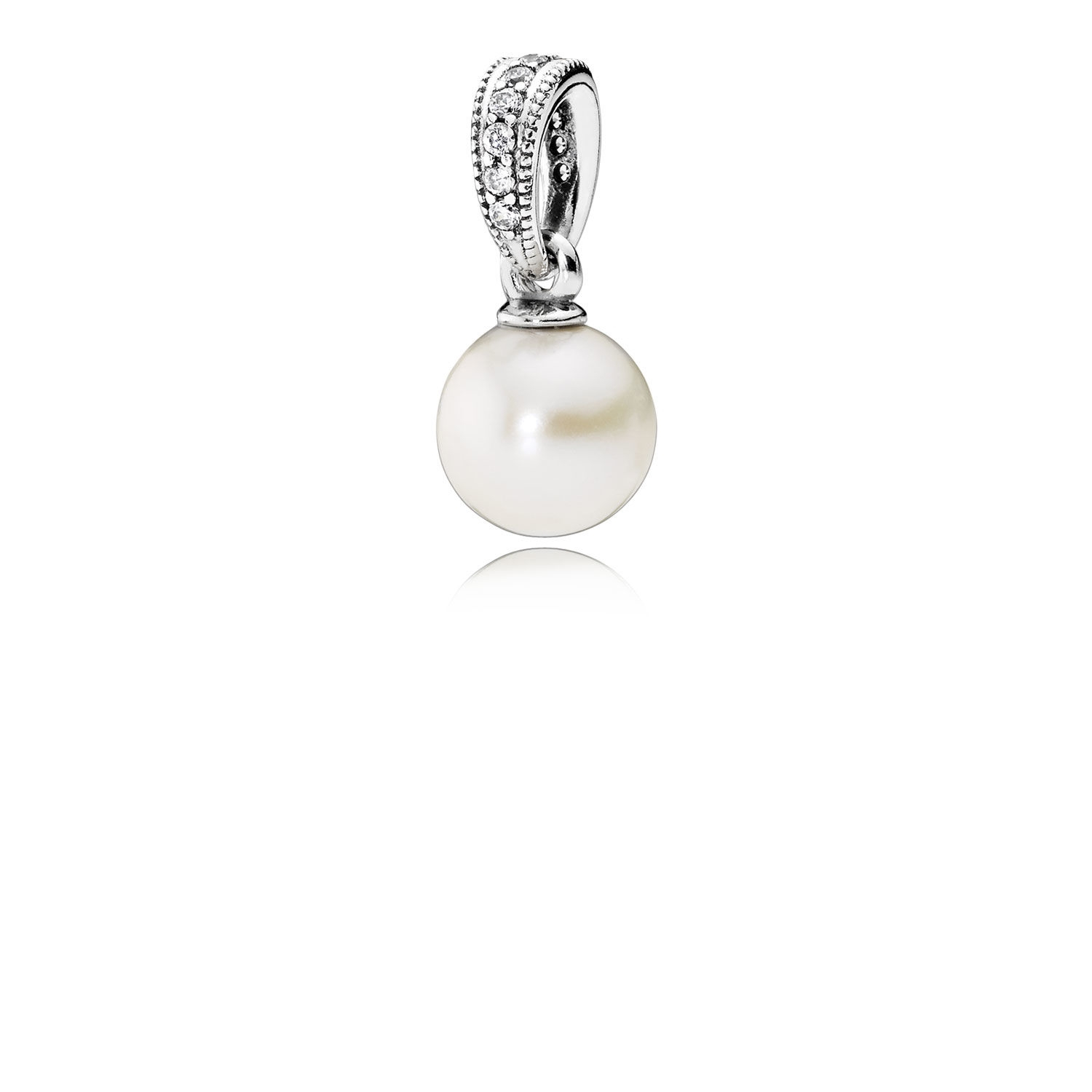 Pandora Elegant Beauty Pendant, White Pearl & Clear Cz 390393p Pertaining To Newest November Droplet Pendant Necklaces (View 9 of 25)