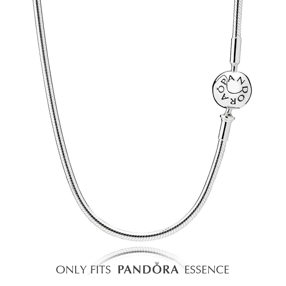 Pandora Essence Silver Necklace 596004 With Regard To Current Pandora Moments Small O Pendant Necklaces (View 19 of 25)