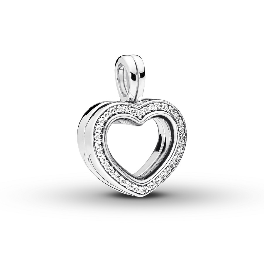 Pandora Floating Heart Locket Dangle Charm Sterling Silver In Best And Newest Pandora Lockets Logo Dangle Charm Necklaces (View 12 of 25)