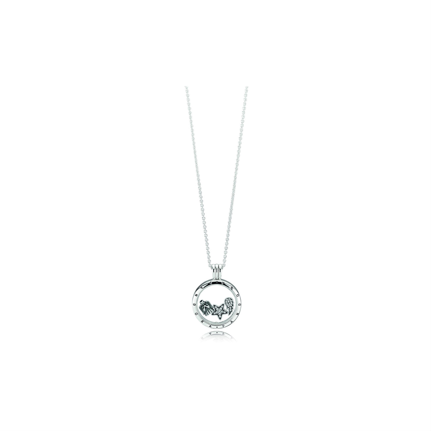 Pandora Floating Locket With Celestial Petites Set With Regard To Recent Pavé Angel Wing Locket Element Necklaces (View 20 of 25)