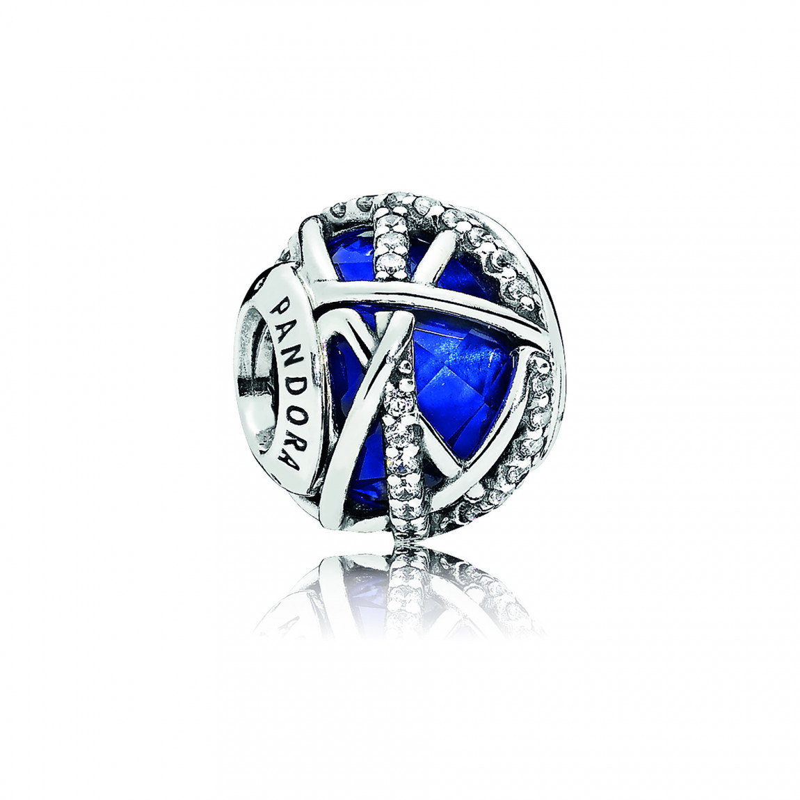 "Pandora ""galaxy"" Charm, Royal Blue Crystal & Clear Cz Regarding Most Up To Date Sparkling & Polished Lines Rings (View 14 of 25)"