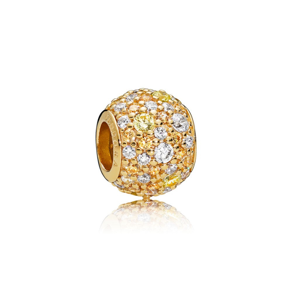 Pandora Gelb Goldene Mix Pavé Kugel Charm 767052Csy Fabrikverkauf With Regard To Most Up To Date Pandora Logo Pavé Rings (View 14 of 25)