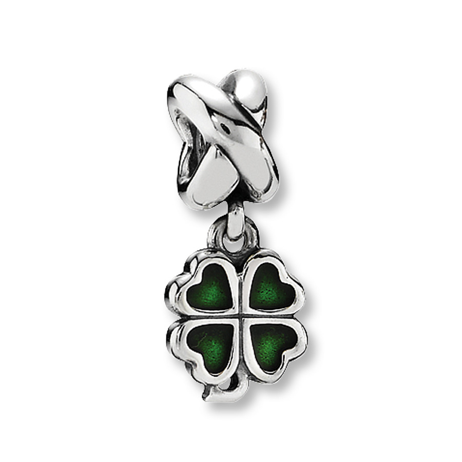 Pandora Green Enamel Clover Dangle Charm Within Current Dangling Four Leaf Clover Rings (View 20 of 25)
