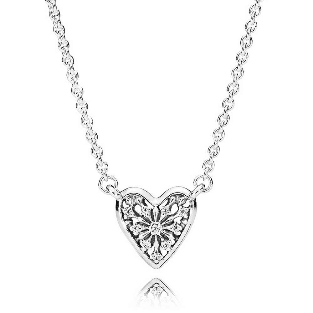 Pandora Heart Of Winter Collier Neckace 396370Cz 45 With Most Current Interlocked Hearts Collier Necklaces (View 17 of 25)
