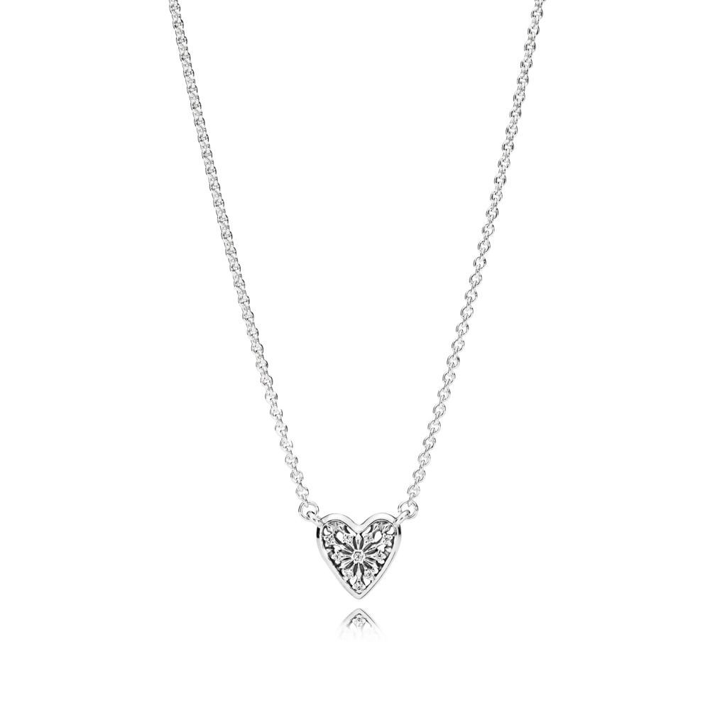 Pandora Heart Of Winter Collier Necklace Sterling Silver Cubic Inside Most Recent Ice Crystal Heart Collier Necklaces (View 15 of 25)