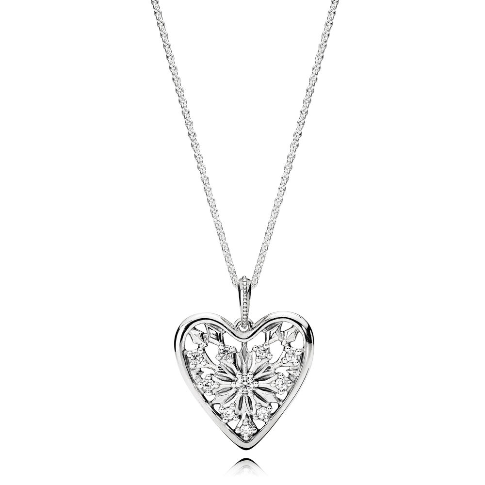 Pandora Heart Of Winter Necklace, Clear Cz – 396370cz – Pandora Pertaining To Newest Ice Crystal Heart Collier Necklaces (View 2 of 25)