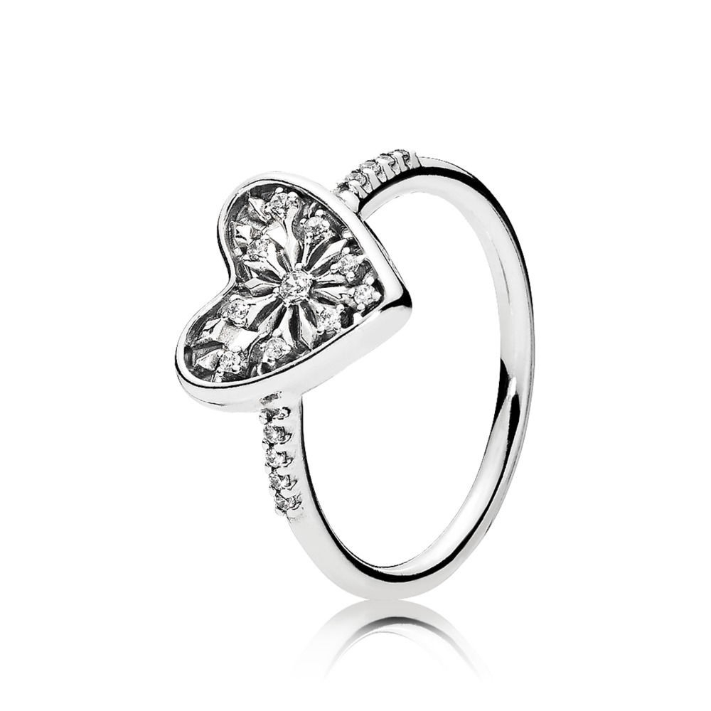 Pandora Heart Of Winter Ring, Clear Cz Sterling Silver, Cubic Zirconia For 2017 Pavé Puzzle Heart Rings (View 9 of 25)