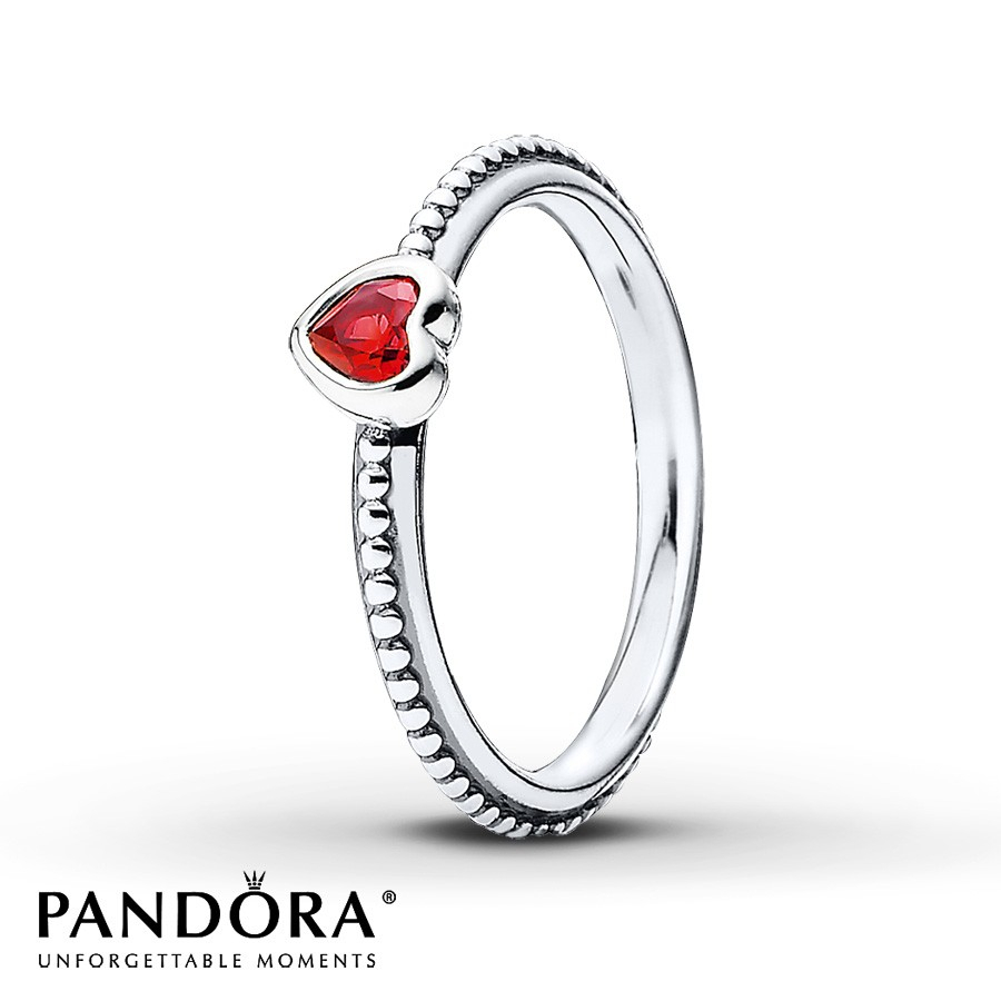 Pandora Heart Ring Garnet Sterling Silver For Latest Hearts & Pandora Logo Rings (View 9 of 25)