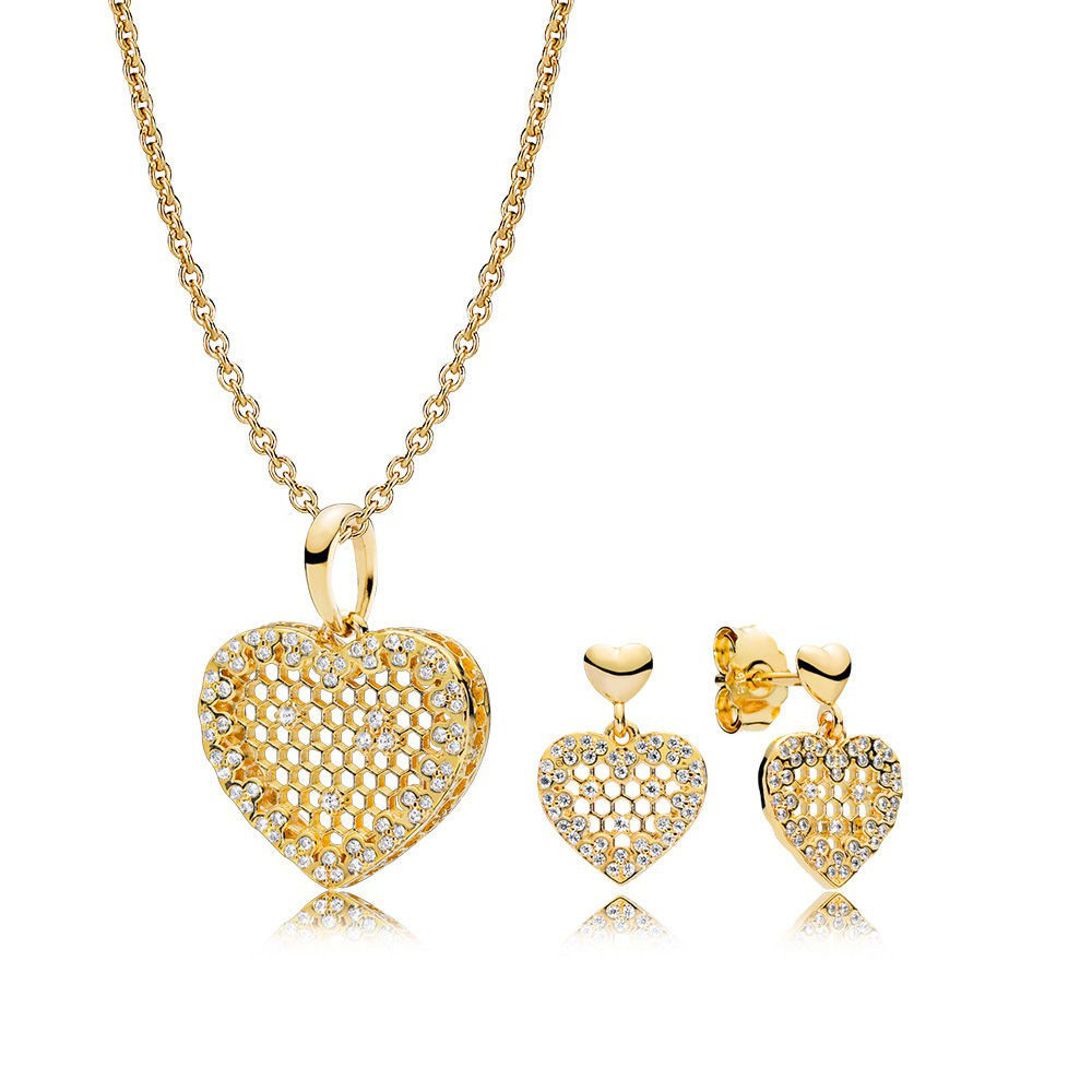 Pandora Honeycomb Lace Necklace And Earring Set Gs0108 For Latest Heart Honeycomb Lace Pendant Necklaces (View 13 of 25)