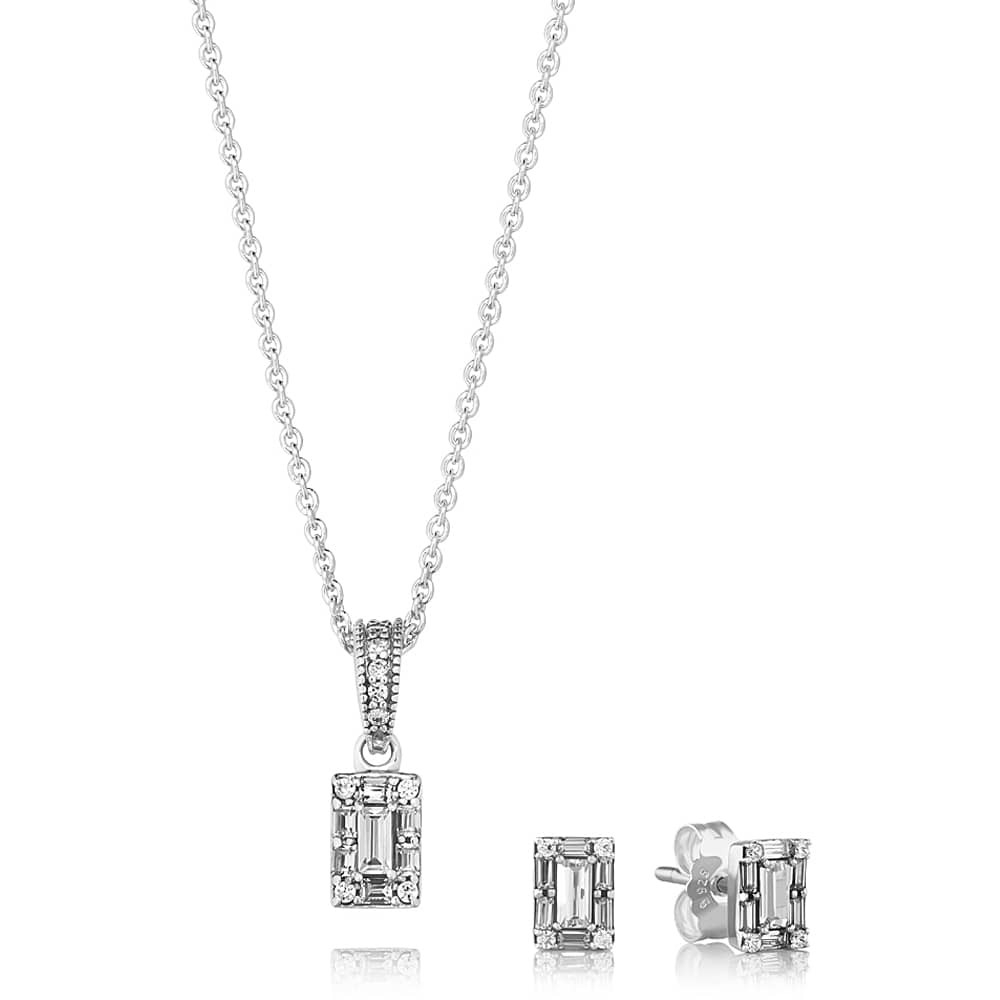 Pandora Ice Baguette Jewellery Set B801013 Within Current Sparkling Ice Cube Circle Pendant Necklaces (View 3 of 25)