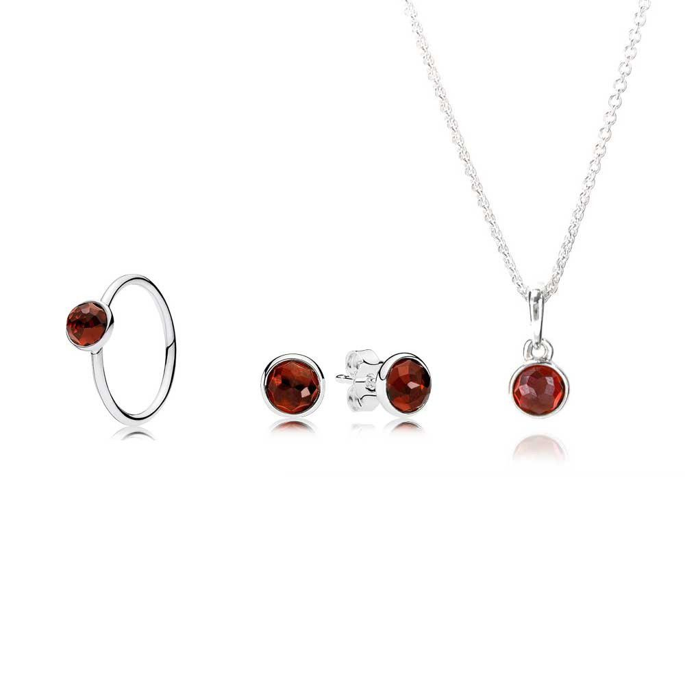 Pandora January Droplet Birthstone Jewellery Set Jsp0037 Within Most Current Garnet January Droplet Pendant Necklaces (View 14 of 25)
