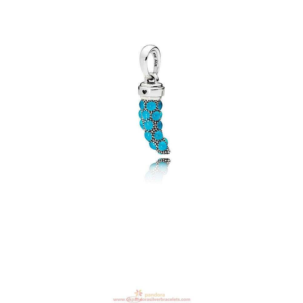 Pandora Jewelry Sale| Pandora Brands Turquoise Italian Horn Necklace Throughout 2019 Baby Blue Enamel Blue Heart Petite Locket Charm Necklaces (Gallery 10 of 25)