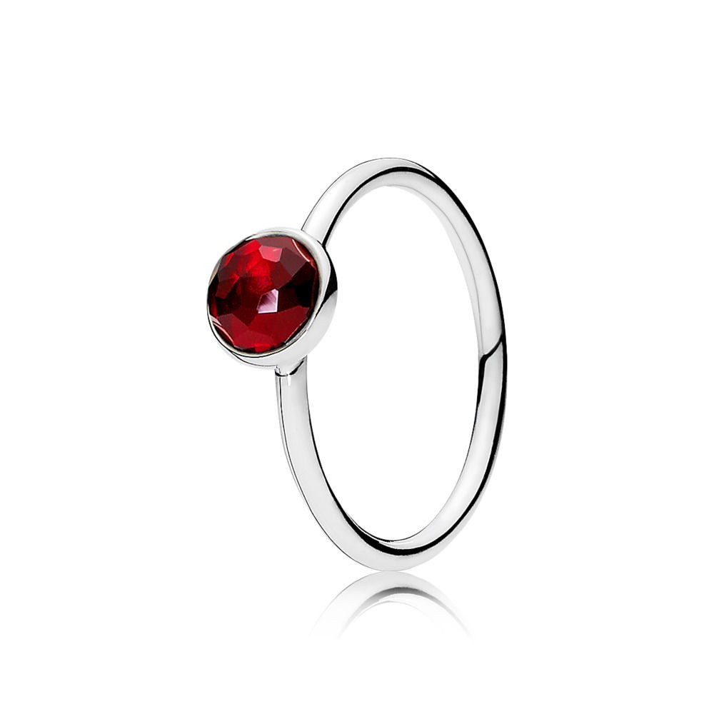 Pandora July Droplet Birthstone Ring Sterling Silver With Red With Regard To Most Recently Released July Droplet Pendant, Synthetic Ruby Necklaces (Gallery 4 of 25)