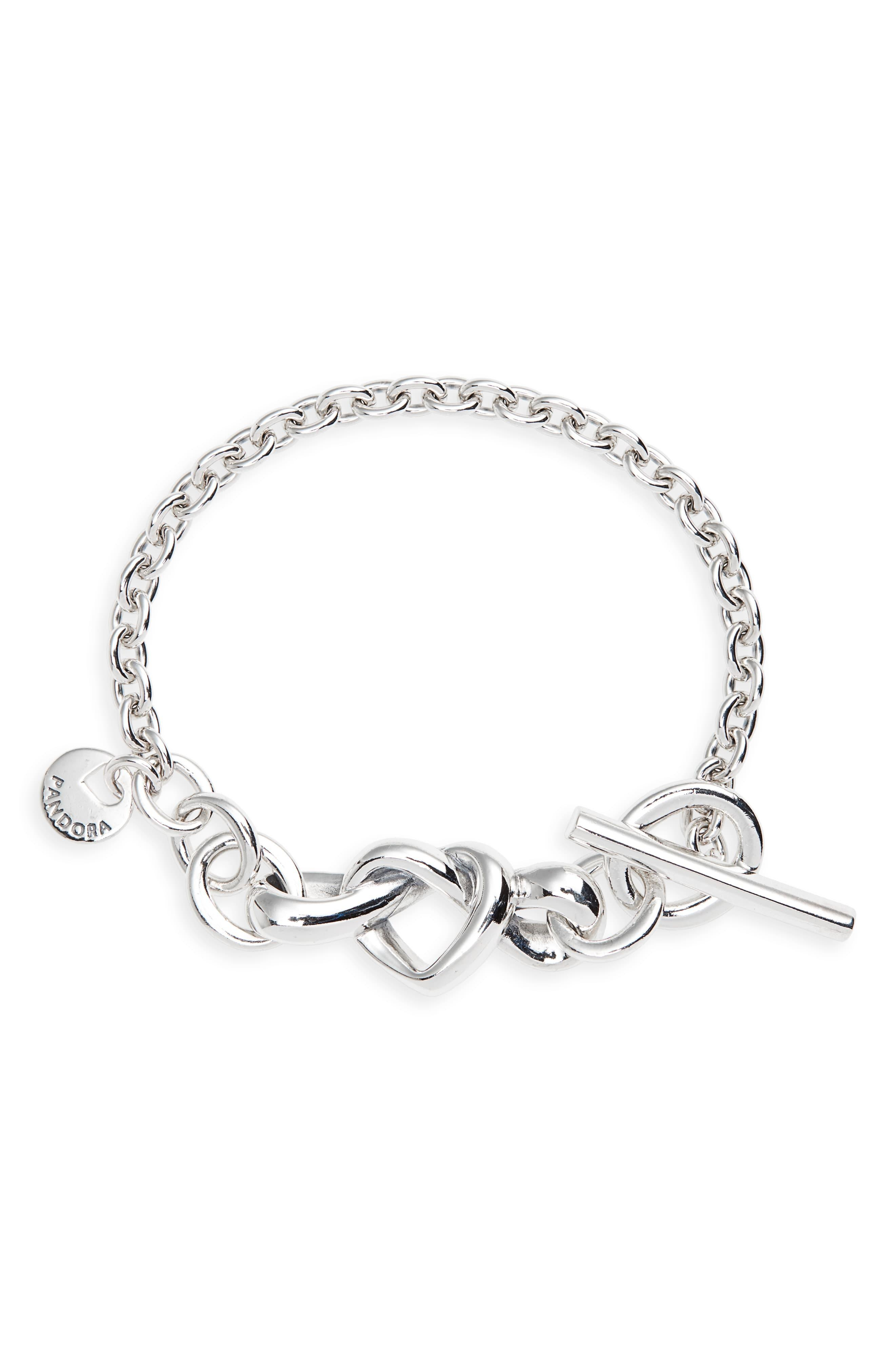 Pandora Knotted Hearts T Bar Bracelet In Metallic – Lyst In Most Recent Knotted Hearts T Bar Necklaces (View 2 of 25)