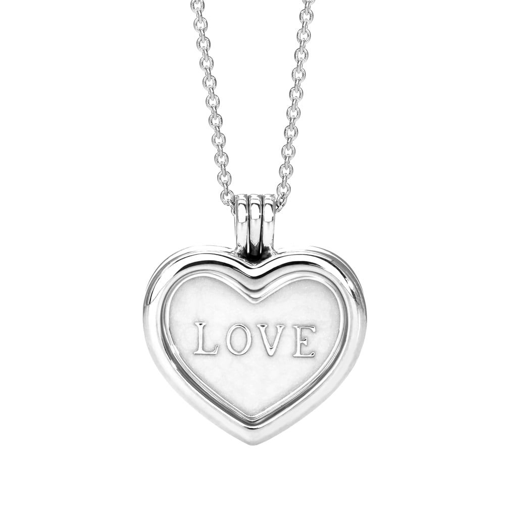 Pandora Large Love Heart Plate Locket Necklace | Hearty & Pearly Within Latest Heart Locket Plate Necklaces (View 2 of 25)