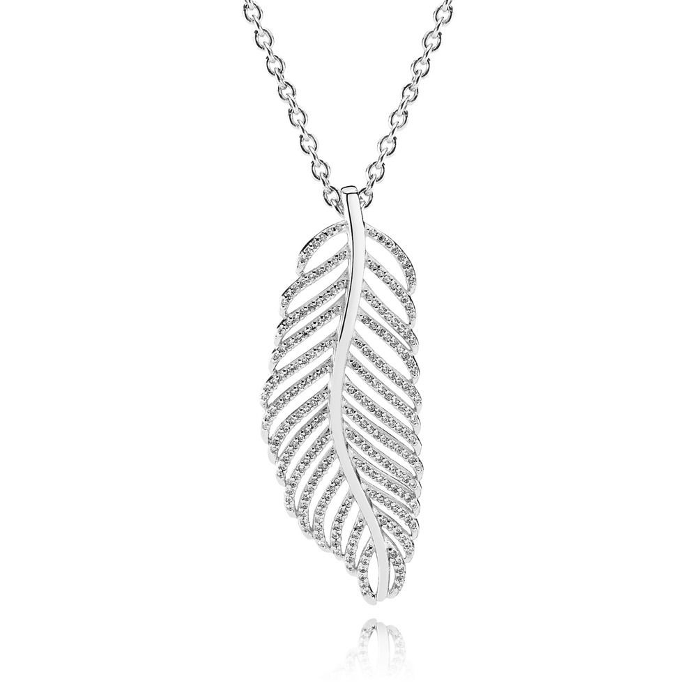 Pandora Light As A Feather Pendant Necklace, Clear Cz Sterling In Best And Newest Disney, Sparkling Minnie Icon Petite Locket Charm Necklaces (View 15 of 25)
