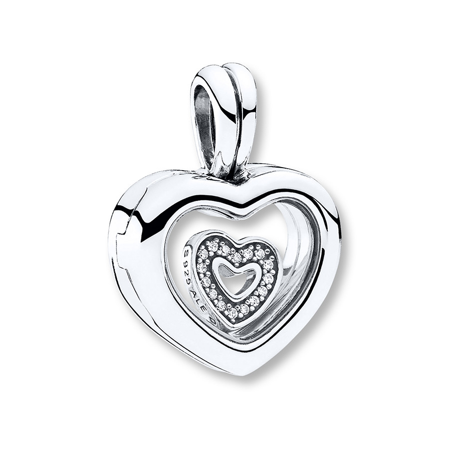 Pandora Locket Dangle Charm Floating Heart Sterling Silver With Current Pandora Lockets Logo Dangle Charm Necklaces (View 8 of 25)