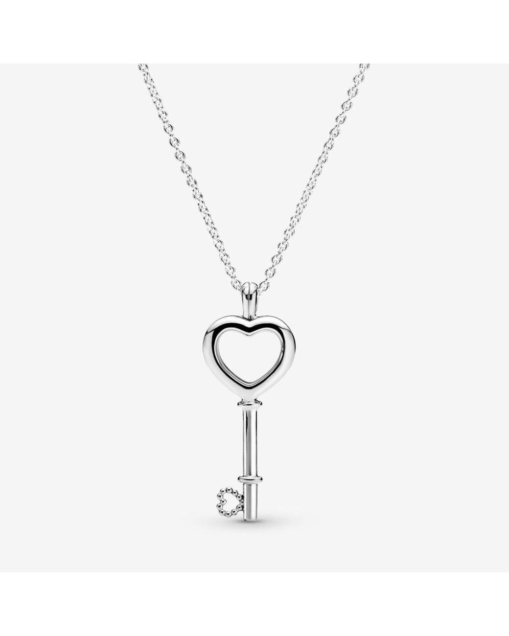 Pandora Lockets Heart Key Necklace In Metallic – Lyst Throughout Recent Pandora Lockets Heart Key Necklaces (View 12 of 25)