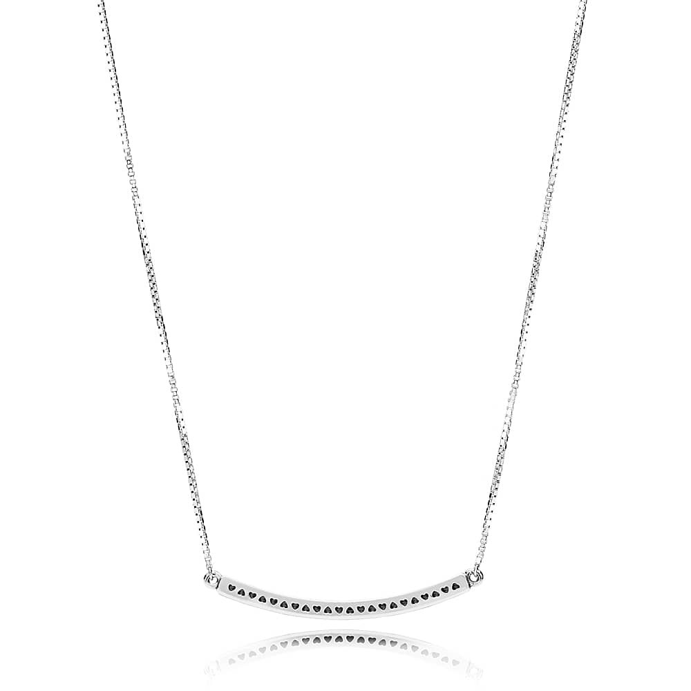 Pandora Logo Reversible Bar Necklace 397420cz With Best And Newest Sparkling Curved Bar Necklaces (View 10 of 25)
