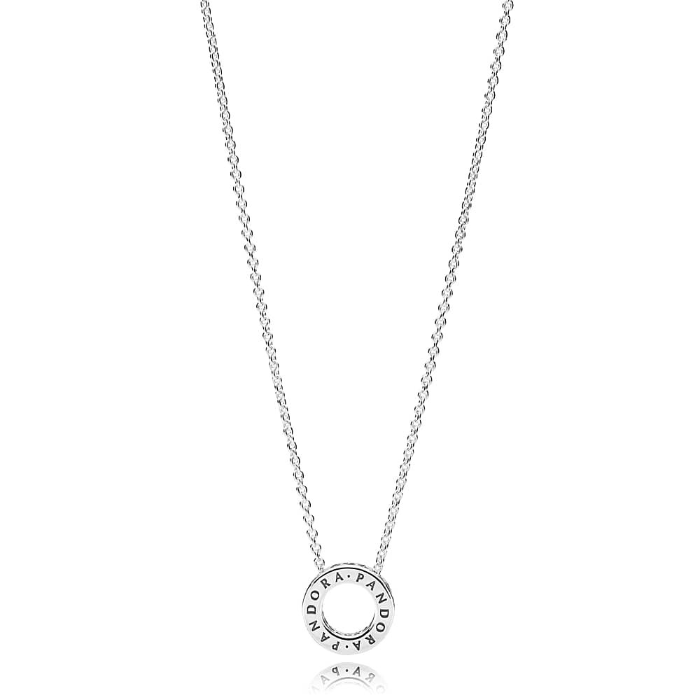Pandora Logo Reversible Hoop Necklace 397436cz Intended For Best And Newest Pandora Logo Pendant Necklaces (View 8 of 25)