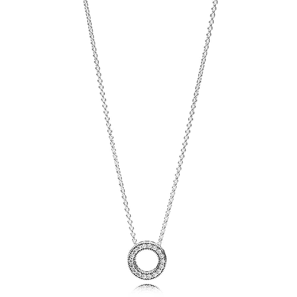 Pandora Logo Reversible Hoop Necklace 397436Cz Within Most Current Pandora Logo Pendant Necklaces (Gallery 3 of 25)