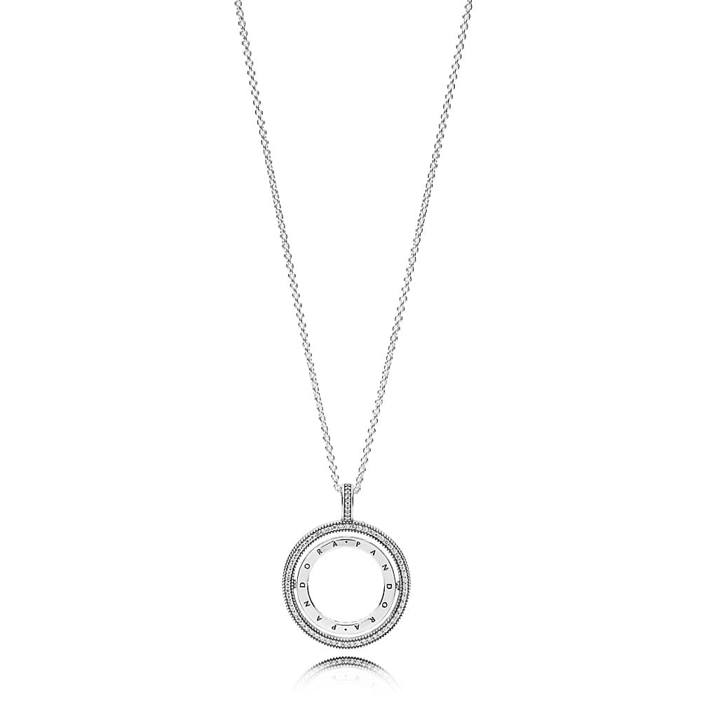 Pandora Logo Spinning Pendant Necklace 397410cz Inside 2019 Pandora Lockets Logo Necklaces (View 2 of 25)