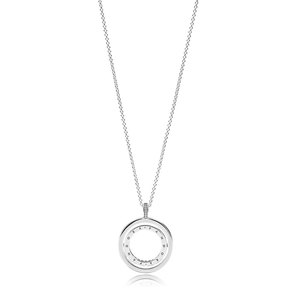Pandora Logo Spinning Pendant Necklace 397410Cz Inside Most Up To Date Pandora Logo Pendant Necklaces (Gallery 2 of 25)