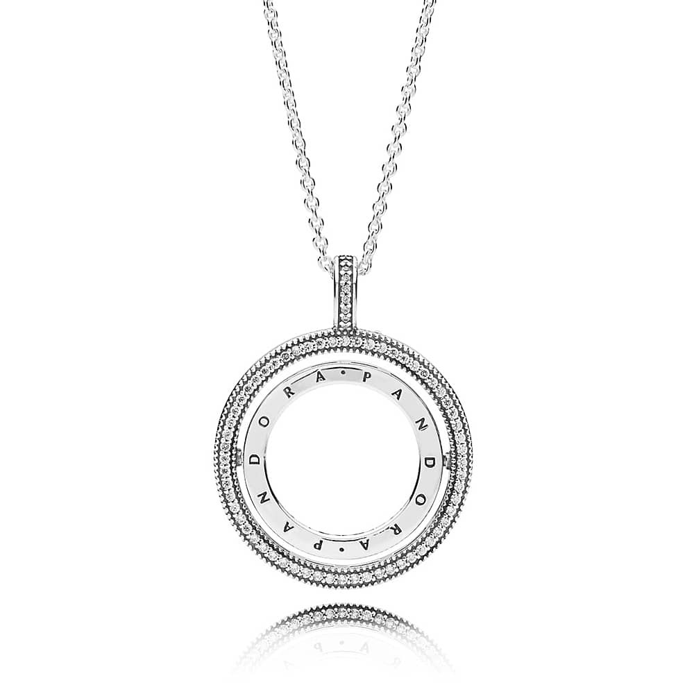 Pandora Logo Spinning Pendant Necklace 397410cz With Recent Pandora Logo Circle Necklaces (View 4 of 25)