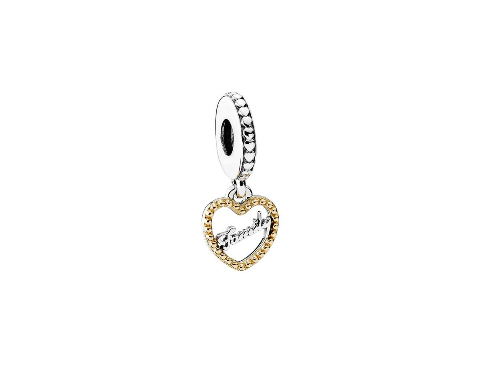 Pandora Loving Family Pendant Charm In Metallic – Save 61% – Lyst Inside Newest Offset Freshwater Cultured Pearl Circle Necklaces (View 25 of 25)